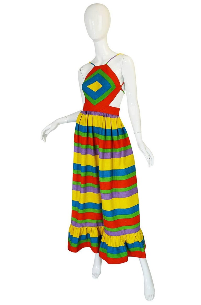 1970s Oscar de la Renta Backless Rainbow Striped Halter Dress 3
