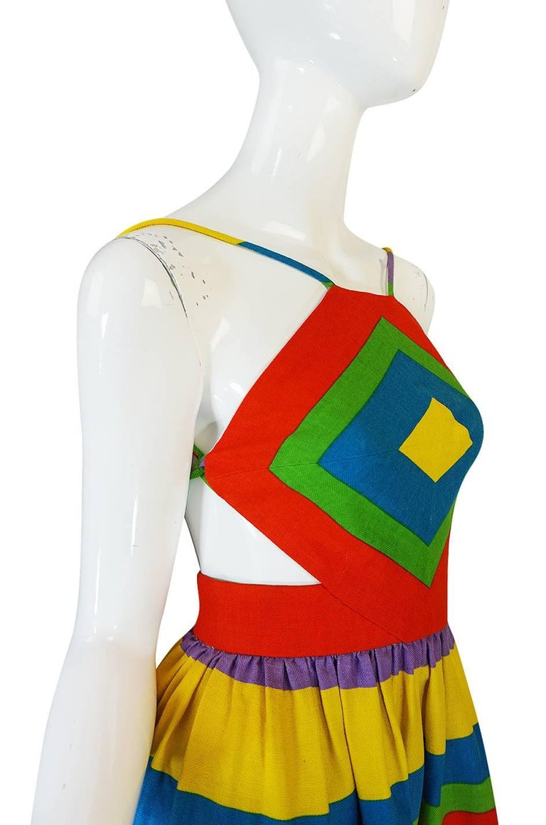 1970s Oscar de la Renta Backless Rainbow Striped Halter Dress 5