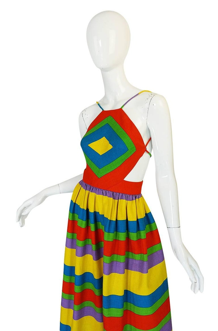 1970s Oscar de la Renta Backless Rainbow Striped Halter Dress 6