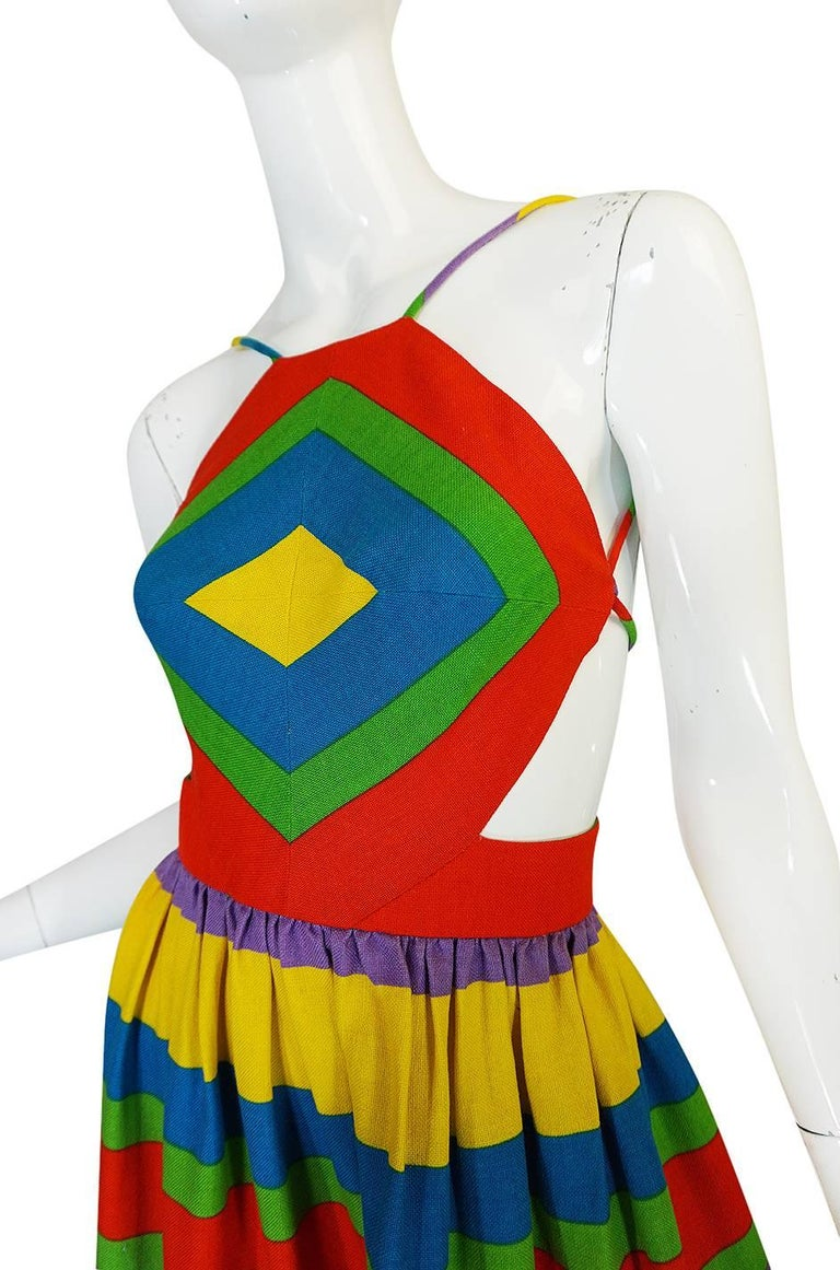 1970s Oscar de la Renta Backless Rainbow Striped Halter Dress 7