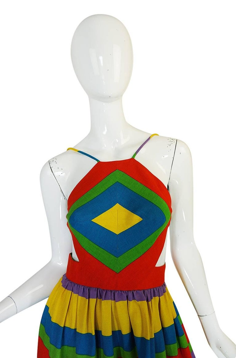 1970s Oscar de la Renta Backless Rainbow Striped Halter Dress 4