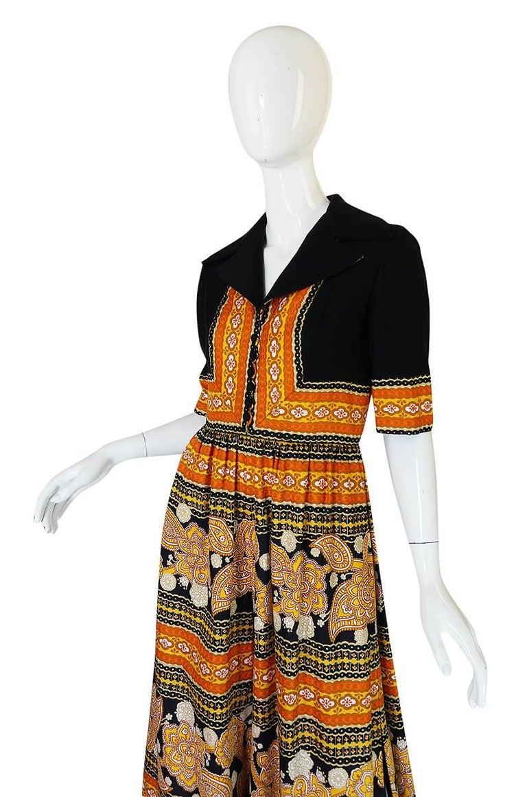 Women's 1960s Oscar de la Renta Printed Jumpsuit w Slit Legs For Sale