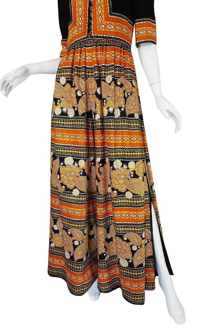 1960s Oscar de la Renta Printed Jumpsuit w Slit Legs For Sale 1