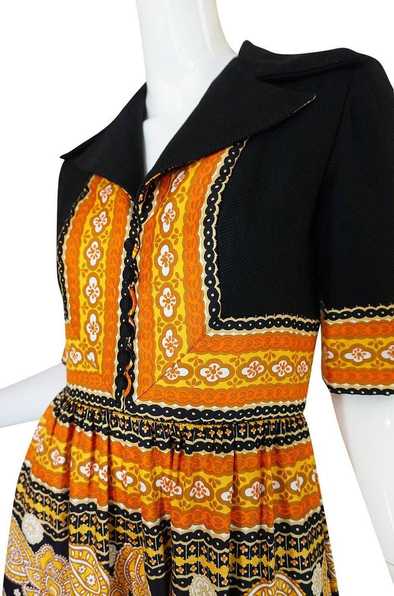 1960s Oscar de la Renta Printed Jumpsuit w Slit Legs For Sale 3