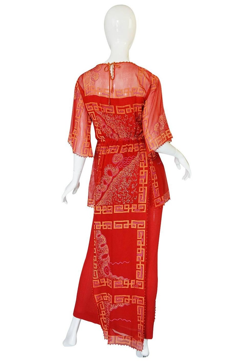 """Book Piece 1979-1980 Zandra Rhodes """"Chinese Squares"""" Red Dress 2"""