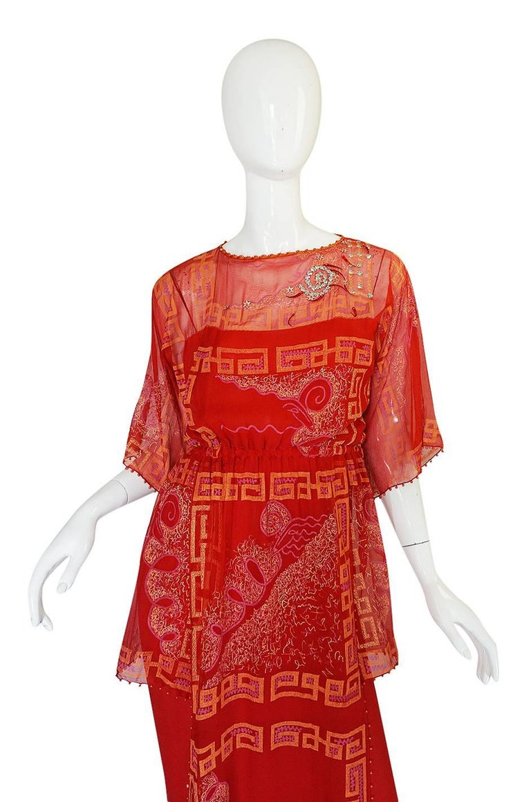 """Book Piece 1979-1980 Zandra Rhodes """"Chinese Squares"""" Red Dress 3"""