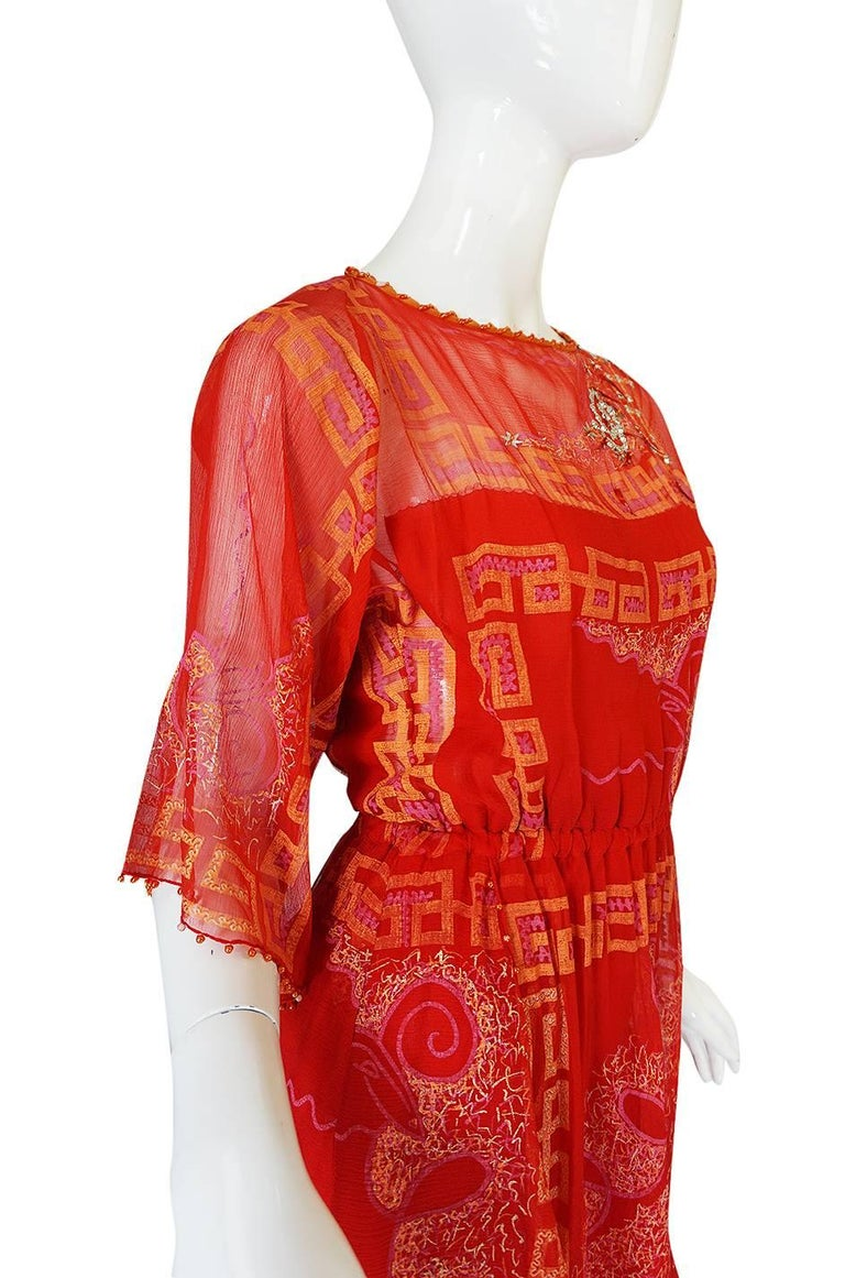 """Book Piece 1979-1980 Zandra Rhodes """"Chinese Squares"""" Red Dress 4"""