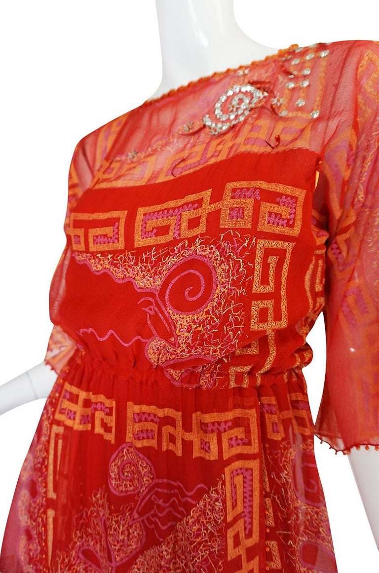 """Book Piece 1979-1980 Zandra Rhodes """"Chinese Squares"""" Red Dress 5"""