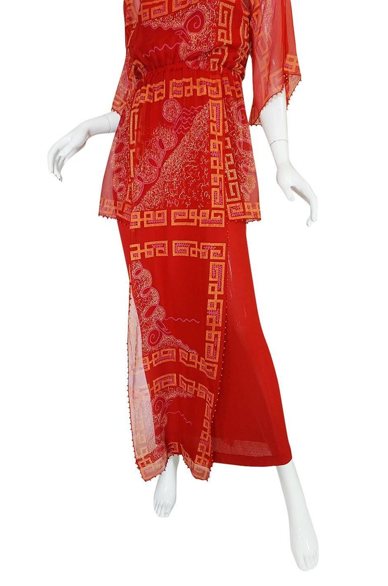 """Book Piece 1979-1980 Zandra Rhodes """"Chinese Squares"""" Red Dress 7"""