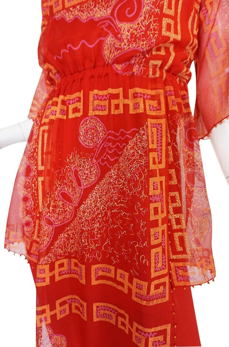 """Book Piece 1979-1980 Zandra Rhodes """"Chinese Squares"""" Red Dress 8"""