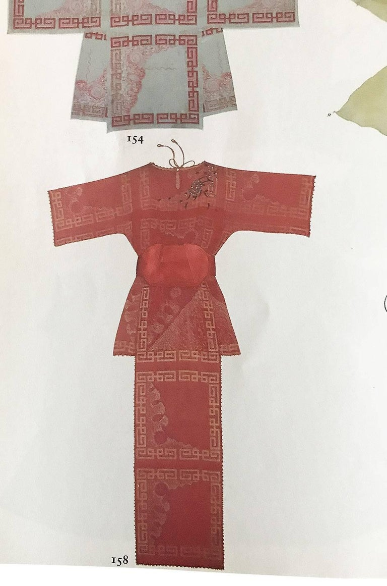 """Book Piece 1979-1980 Zandra Rhodes """"Chinese Squares"""" Red Dress 10"""
