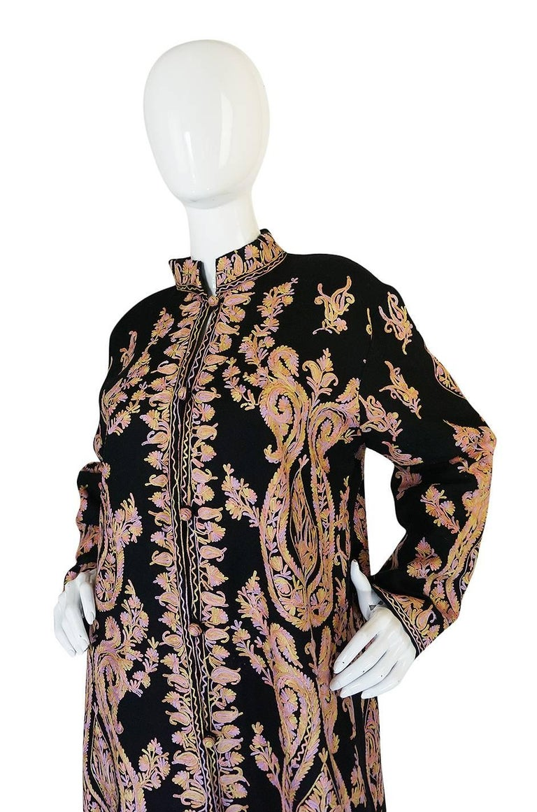 1960s Pastel Crewel Embroidered Detailing Black Jacket 6
