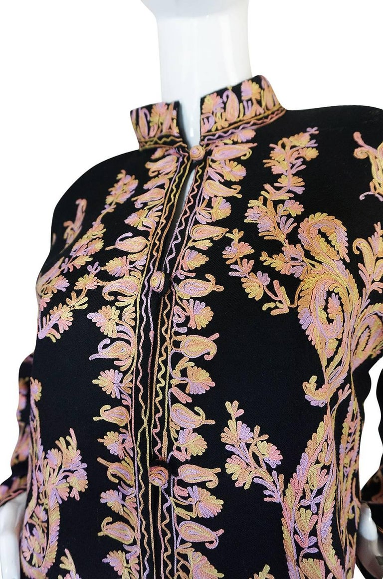 1960s Pastel Crewel Embroidered Detailing Black Jacket 7