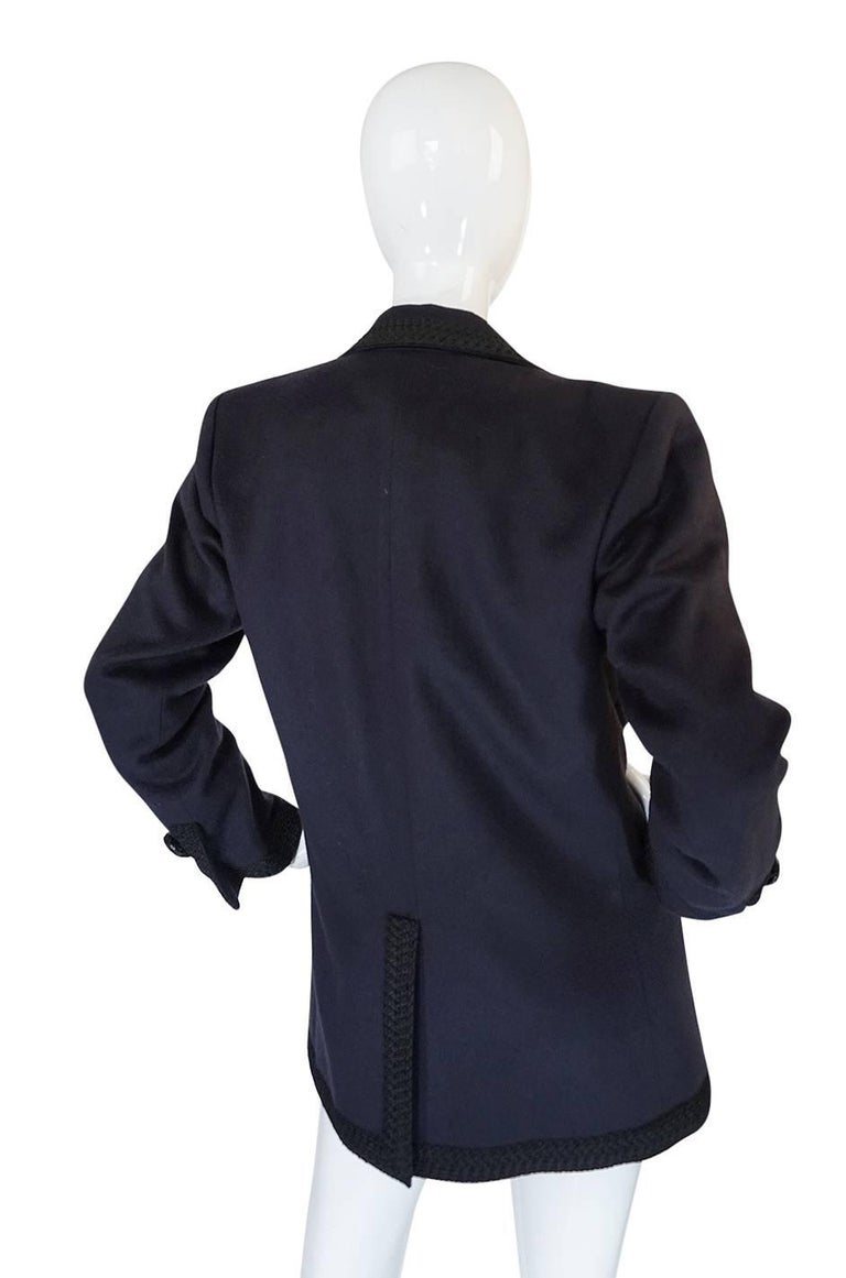 1980s Yves Saint Laurent Deep Grey Cashmere & Leather Braid Jacket 2