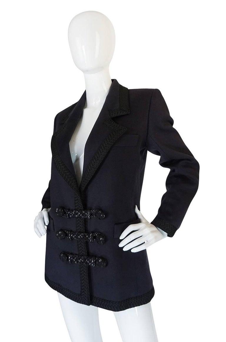 1980s Yves Saint Laurent Deep Grey Cashmere & Leather Braid Jacket 3