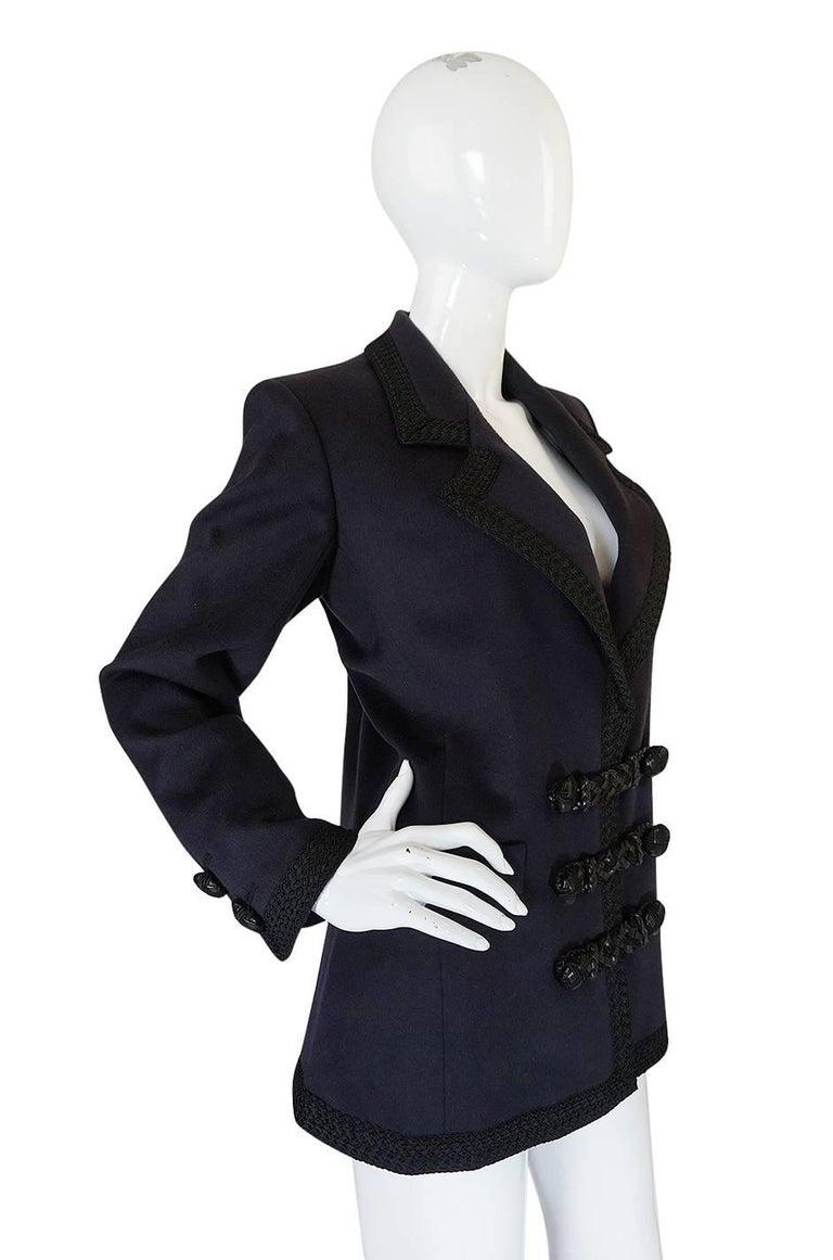 1980s Yves Saint Laurent Deep Grey Cashmere & Leather Braid Jacket 4
