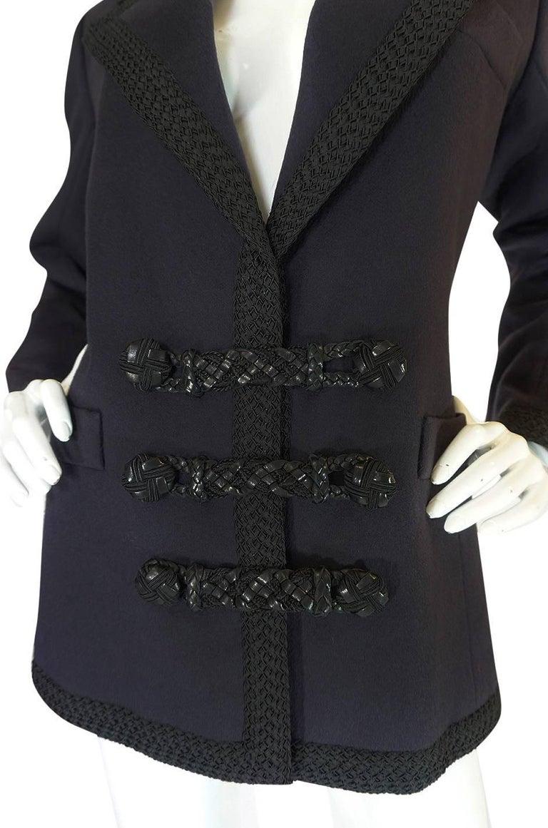 1980s Yves Saint Laurent Deep Grey Cashmere & Leather Braid Jacket 5