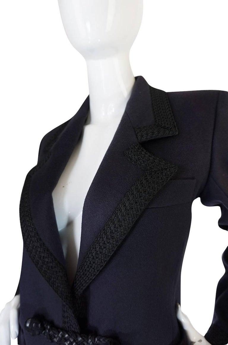 1980s Yves Saint Laurent Deep Grey Cashmere & Leather Braid Jacket 6