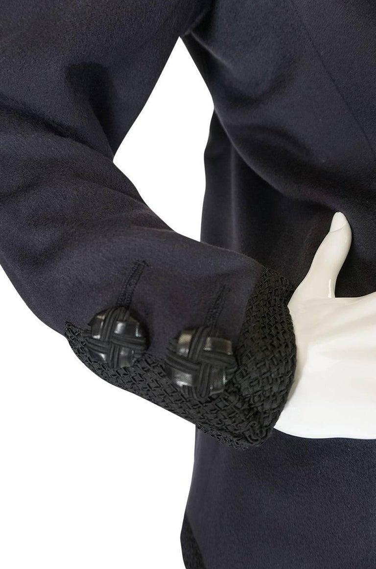 1980s Yves Saint Laurent Deep Grey Cashmere & Leather Braid Jacket 7
