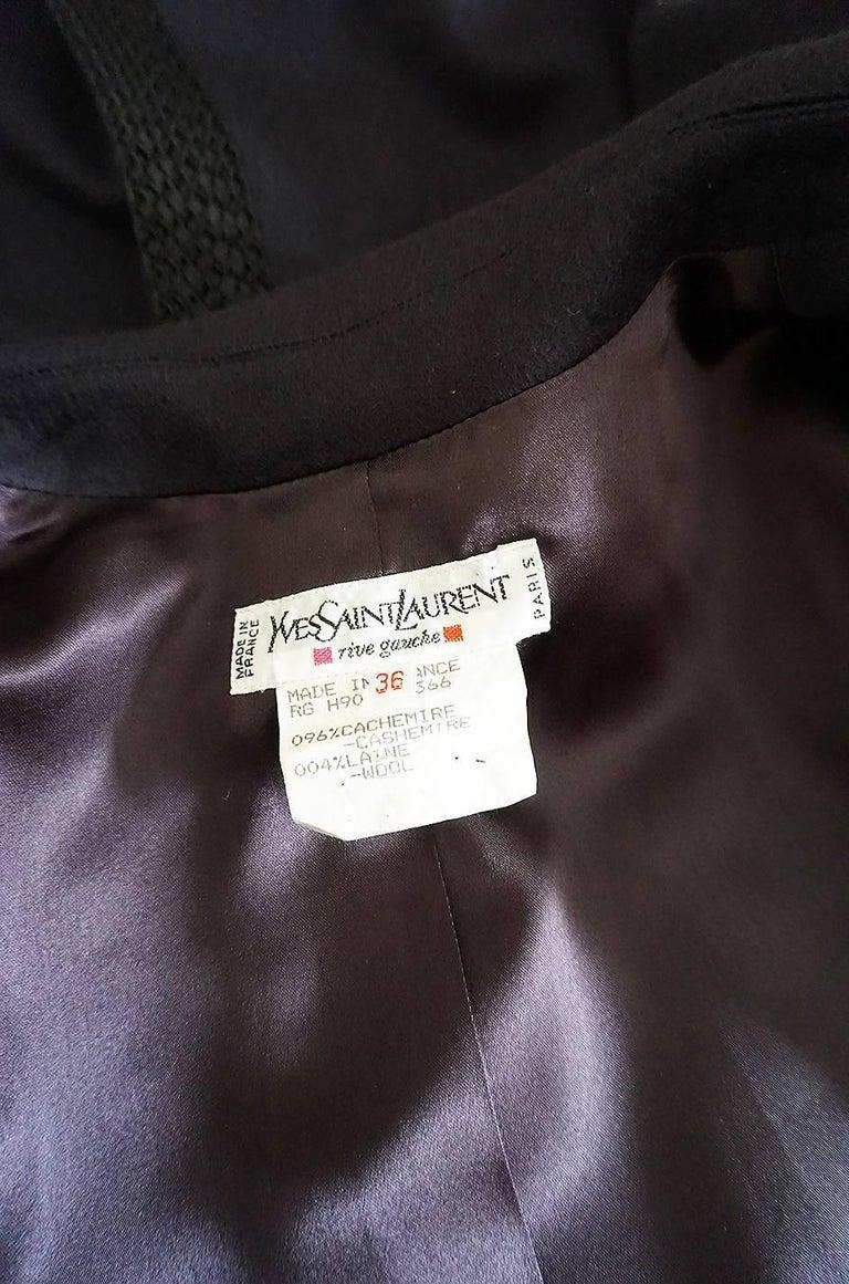 1980s Yves Saint Laurent Deep Grey Cashmere & Leather Braid Jacket 8