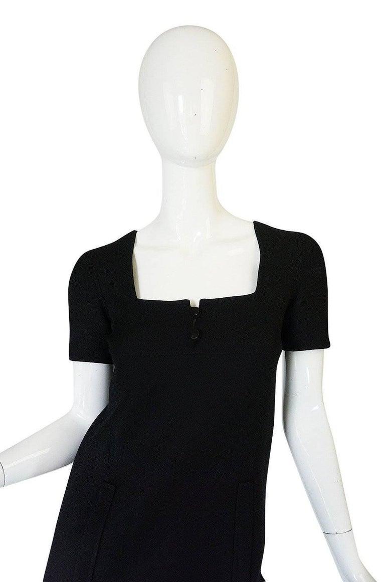 Women's Chic 1960s Courreges Paris Black Shift Dress For Sale
