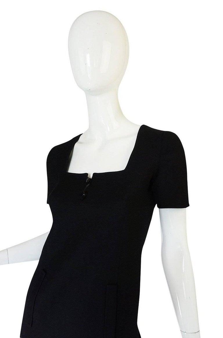Chic 1960s Courreges Paris Black Shift Dress For Sale 1