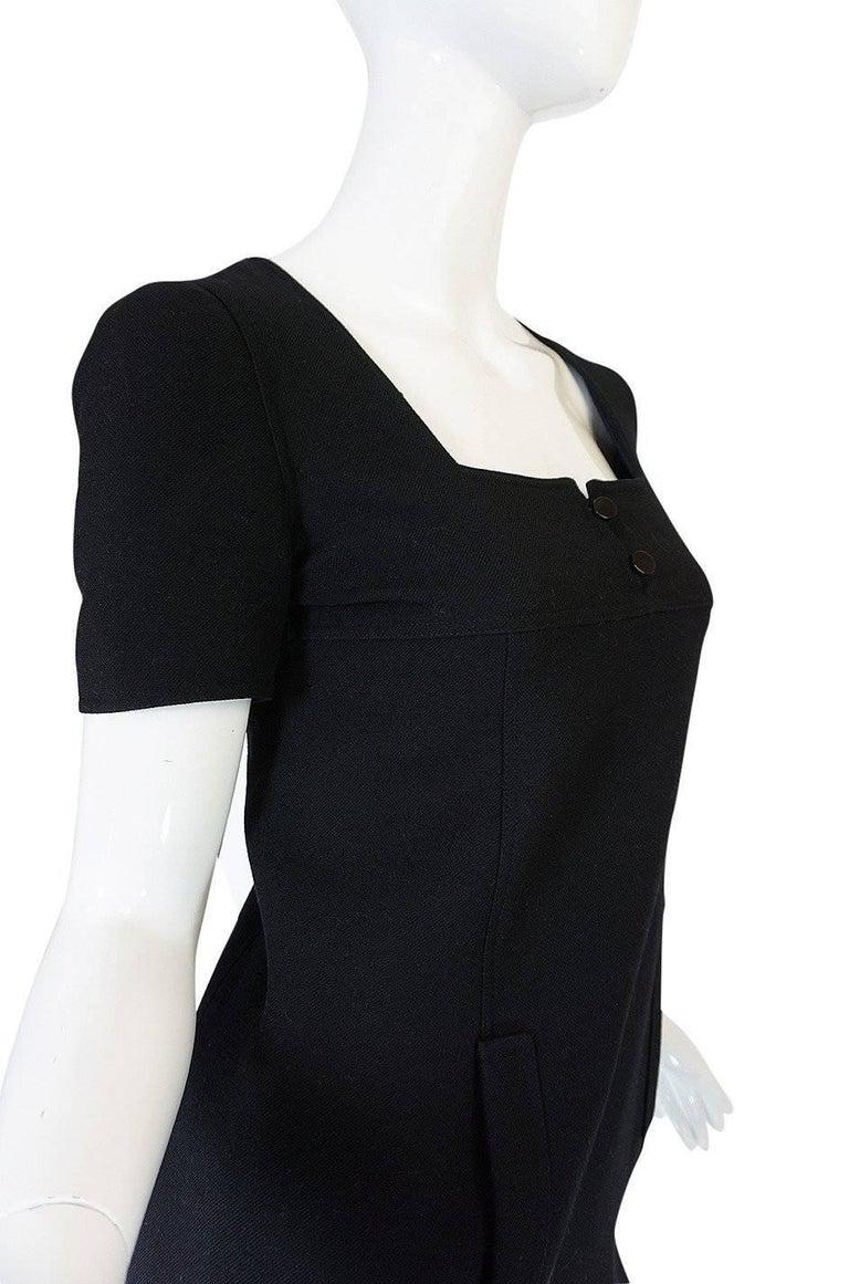 Chic 1960s Courreges Paris Black Shift Dress For Sale 2