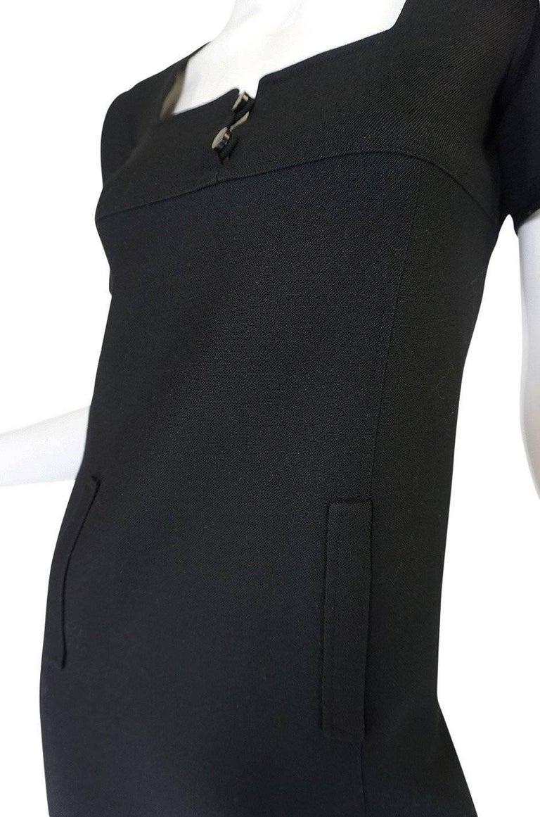 Chic 1960s Courreges Paris Black Shift Dress For Sale 3
