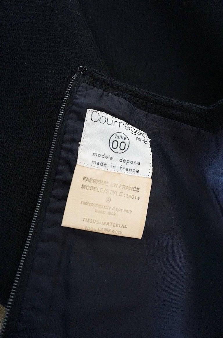 Chic 1960s Courreges Paris Black Shift Dress For Sale 4