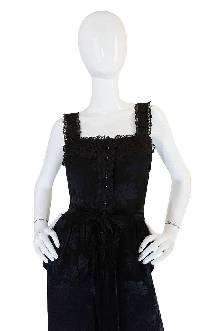 Women's c1971 Rare Mary Quant Black on Black Floral Silk Halter Smock Dress For Sale