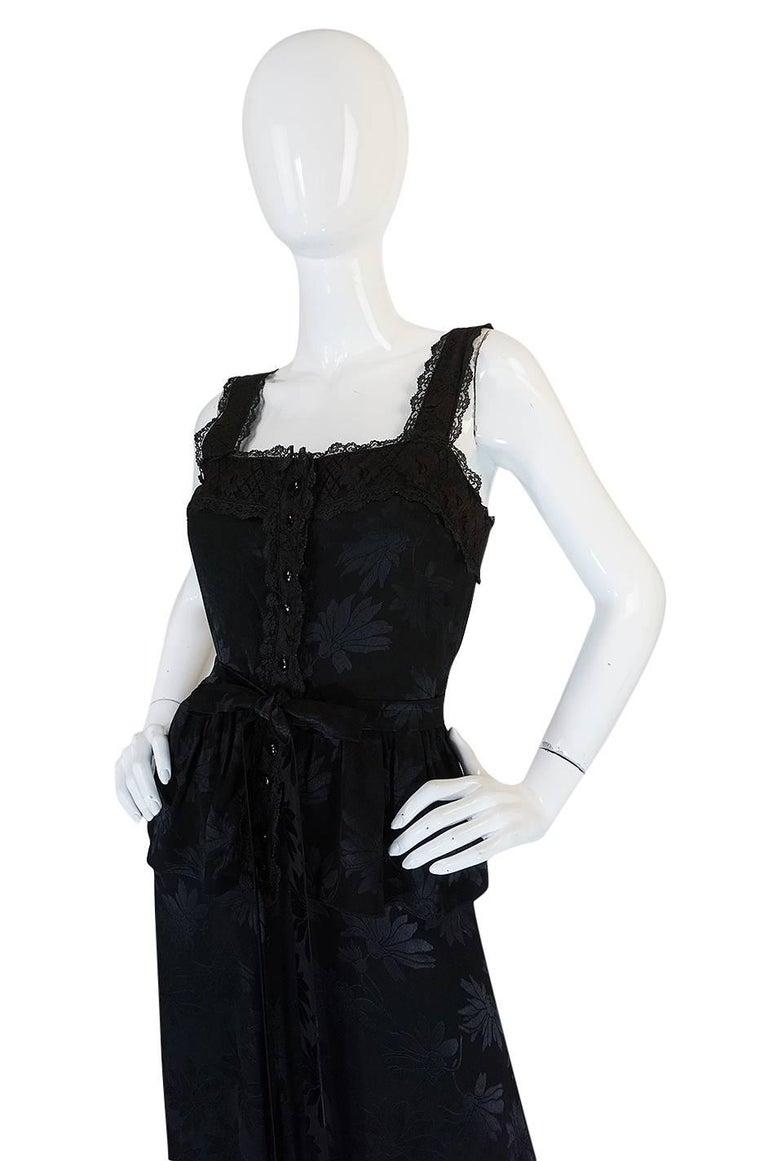 c1971 Rare Mary Quant Black on Black Floral Silk Halter Smock Dress For Sale 1