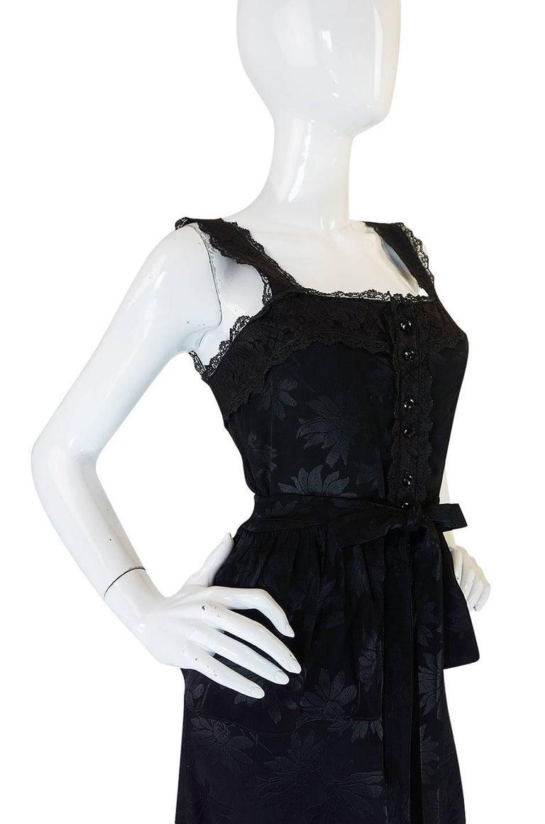 c1971 Rare Mary Quant Black on Black Floral Silk Halter Smock Dress For Sale 2