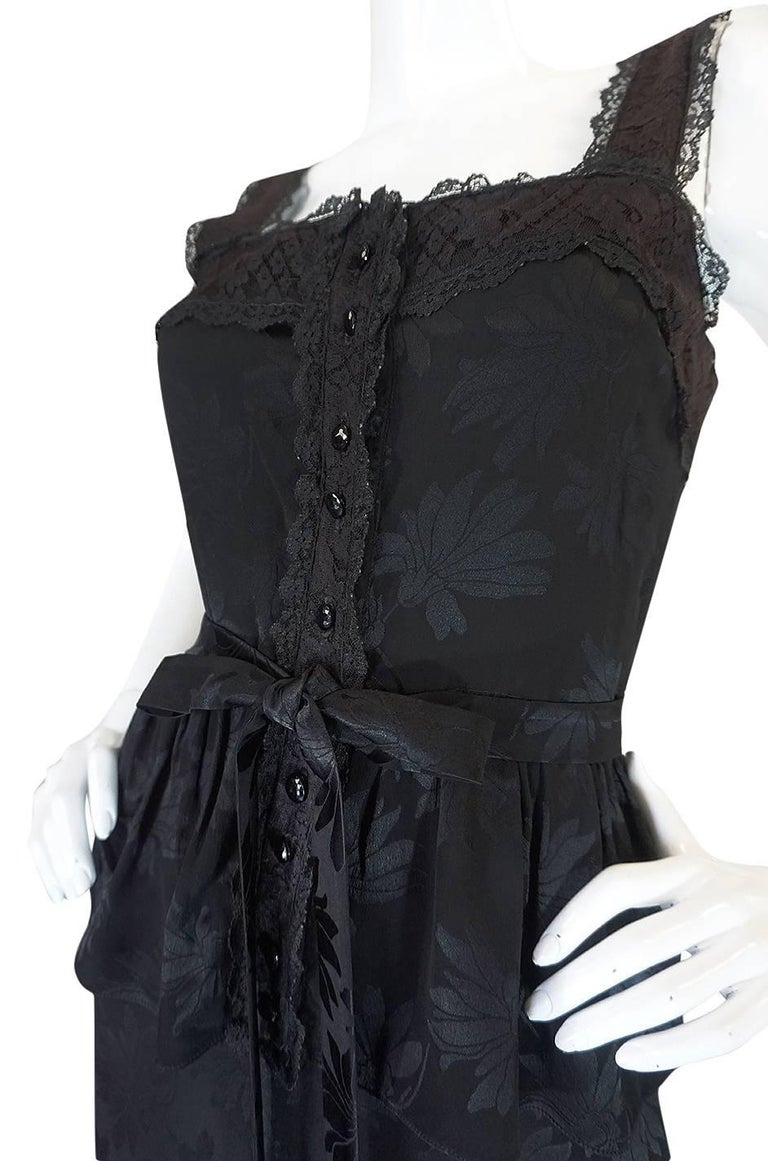 c1971 Rare Mary Quant Black on Black Floral Silk Halter Smock Dress For Sale 3