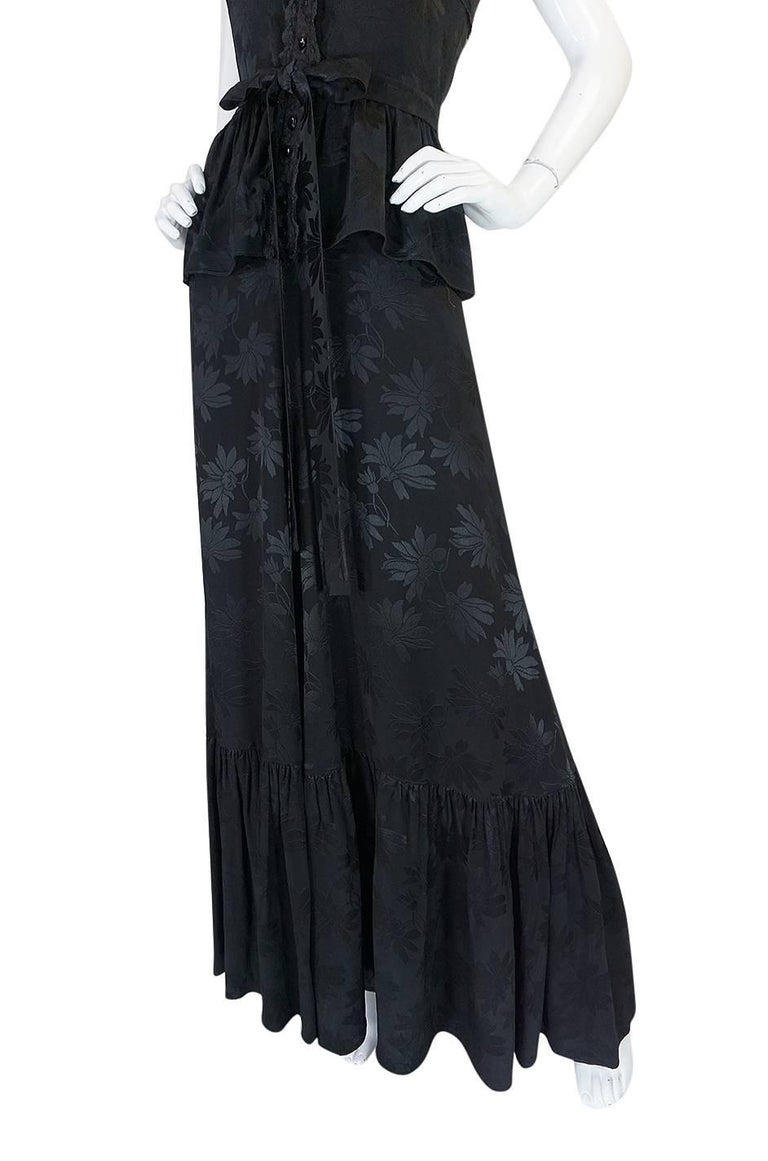 c1971 Rare Mary Quant Black on Black Floral Silk Halter Smock Dress For Sale 4