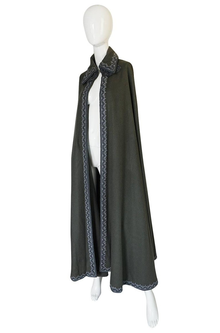 Black Wonderful 1970s Braided Edge Grey Full Length Wool Cape For Sale