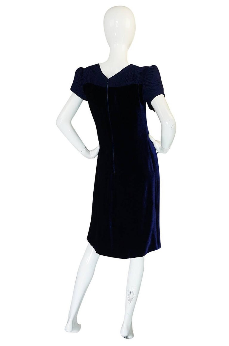 1980s Valentino Haute Couture Blue Silk Velvet Shift Dress 2