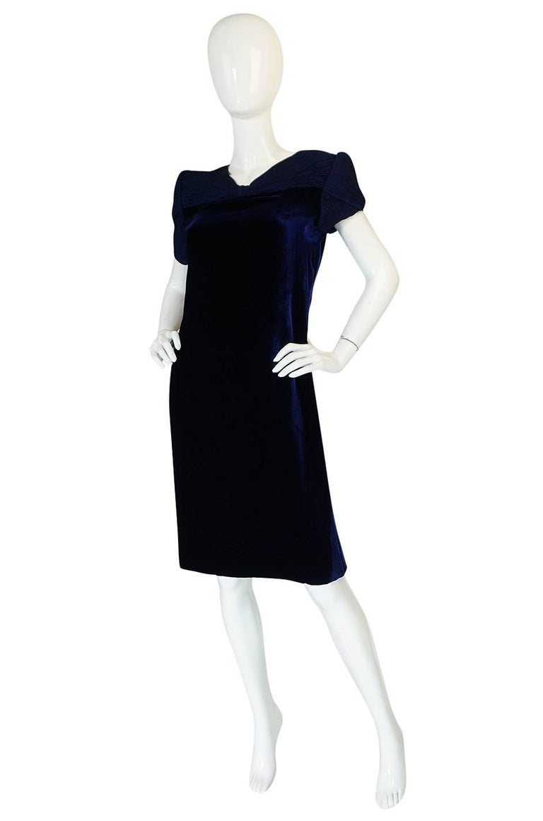 1980s Valentino Haute Couture Blue Silk Velvet Shift Dress 3