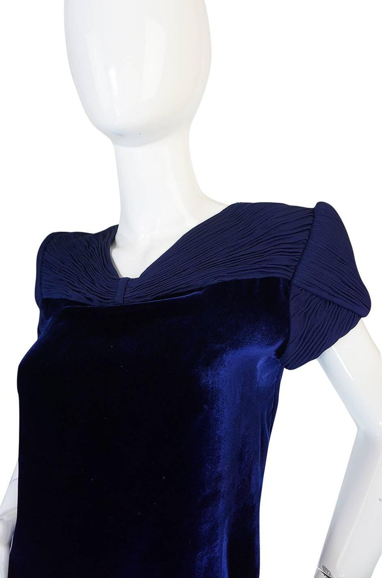 1980s Valentino Haute Couture Blue Silk Velvet Shift Dress 6