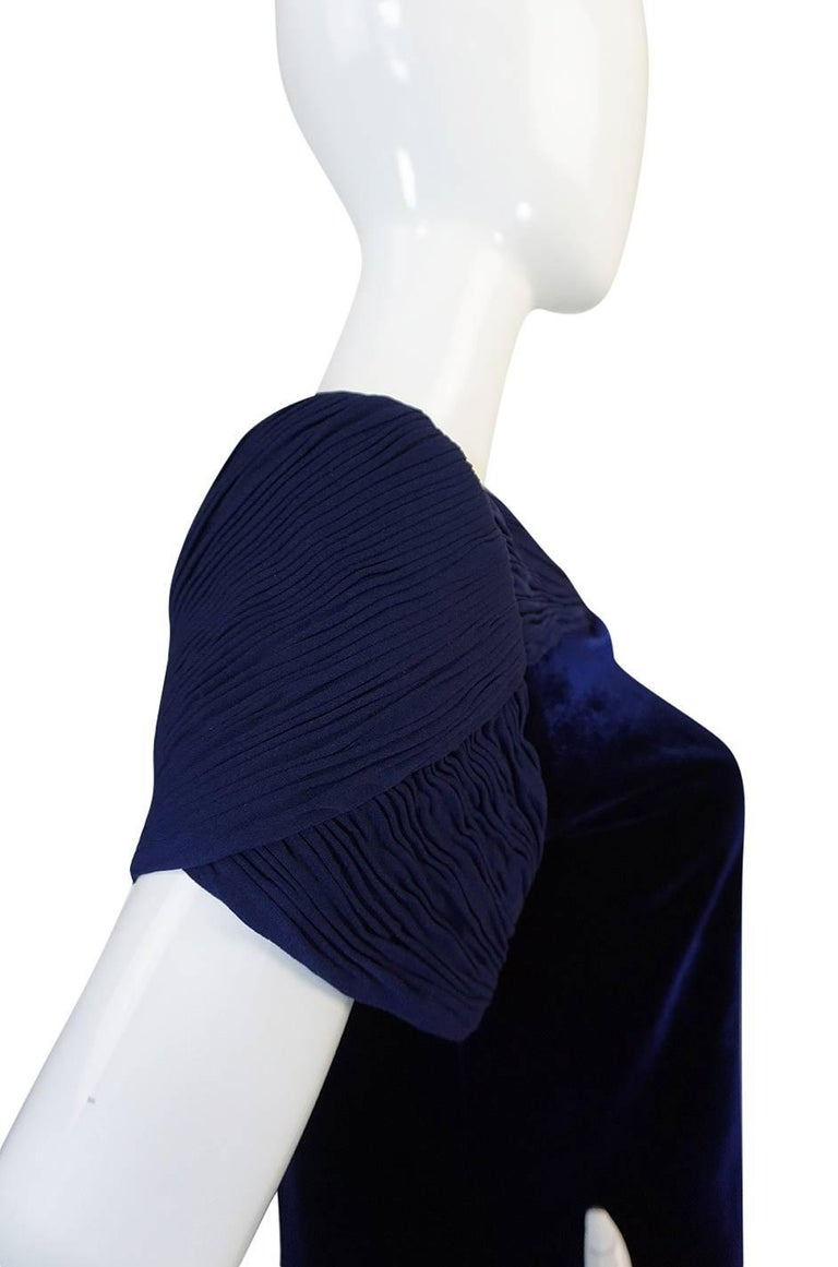 1980s Valentino Haute Couture Blue Silk Velvet Shift Dress 7
