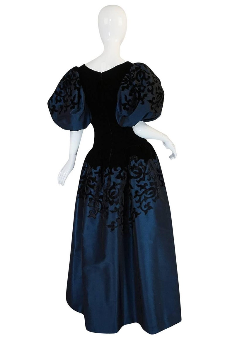 1980s Oscar de la Renta Deep Blue Silk & Velvet Applique Dress 2