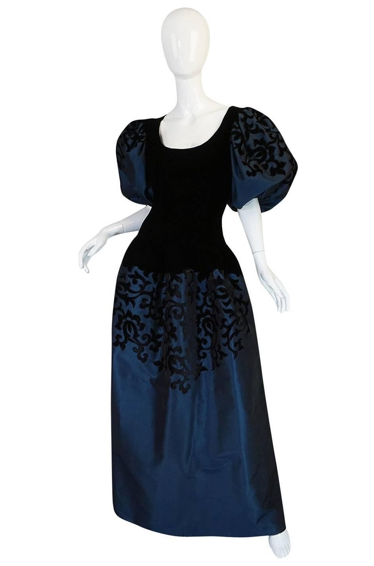 1980s Oscar de la Renta Deep Blue Silk & Velvet Applique Dress 3