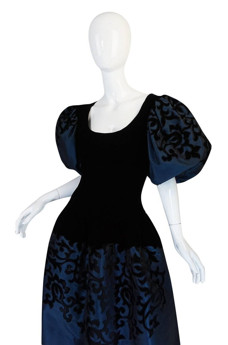1980s Oscar de la Renta Deep Blue Silk & Velvet Applique Dress 5