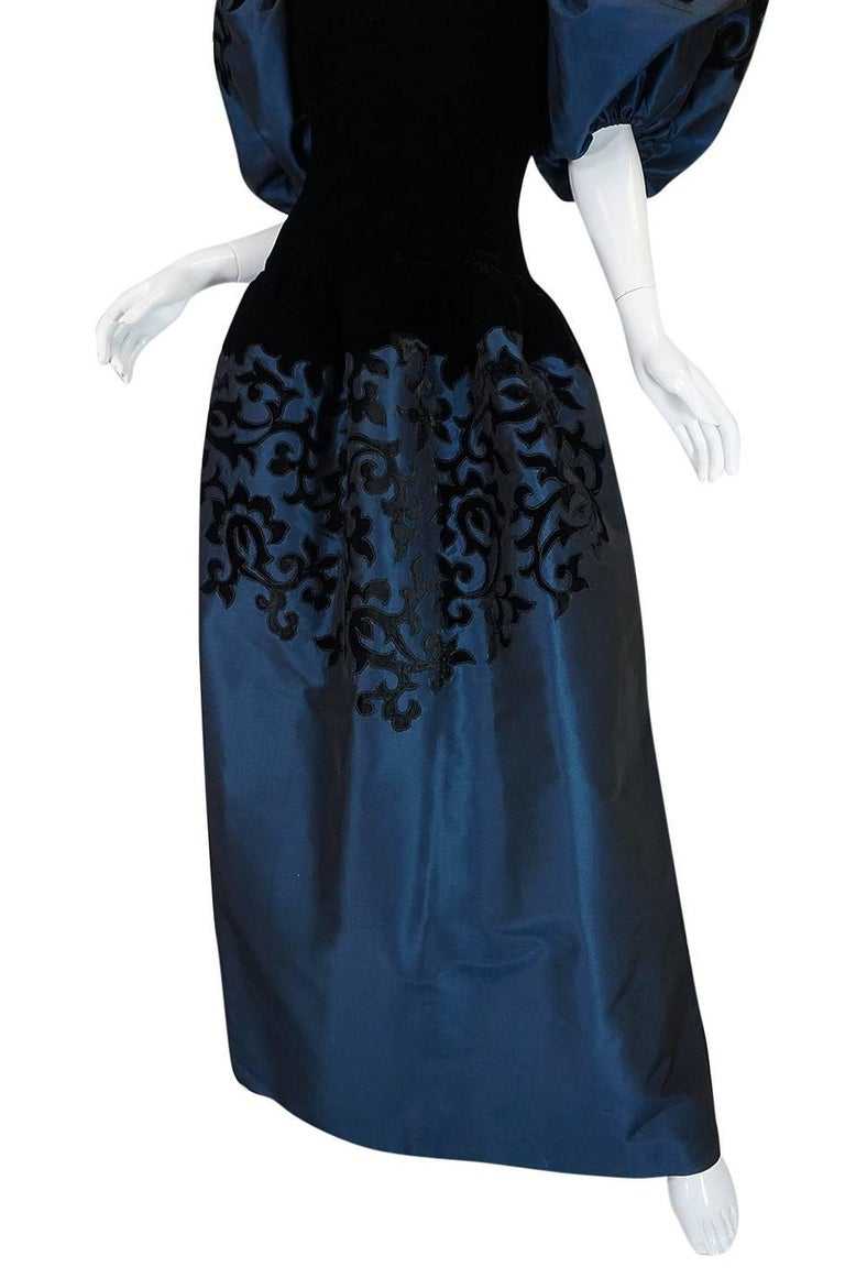 1980s Oscar de la Renta Deep Blue Silk & Velvet Applique Dress 8