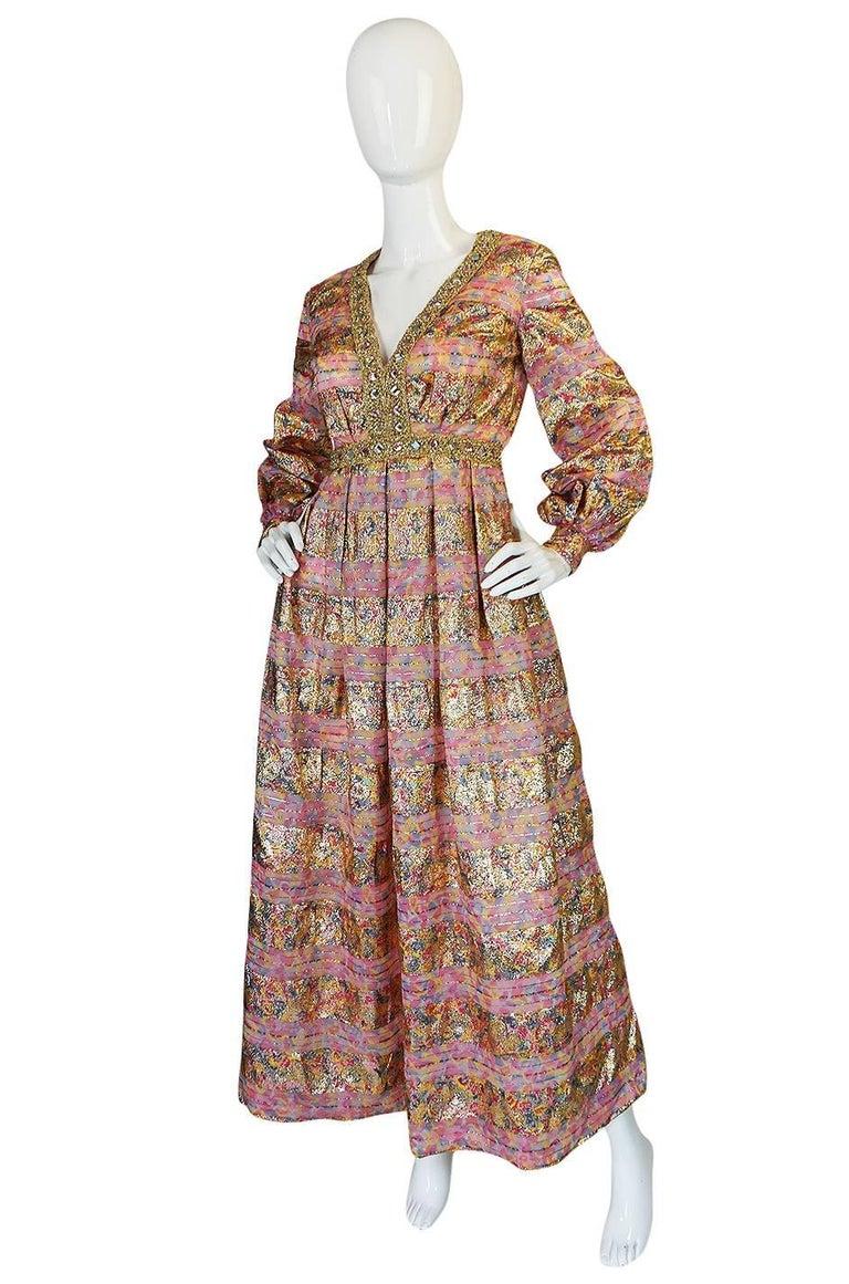 Brown 1960s Pink & Gold Embellished Metallic Silk Organza Dress For Sale