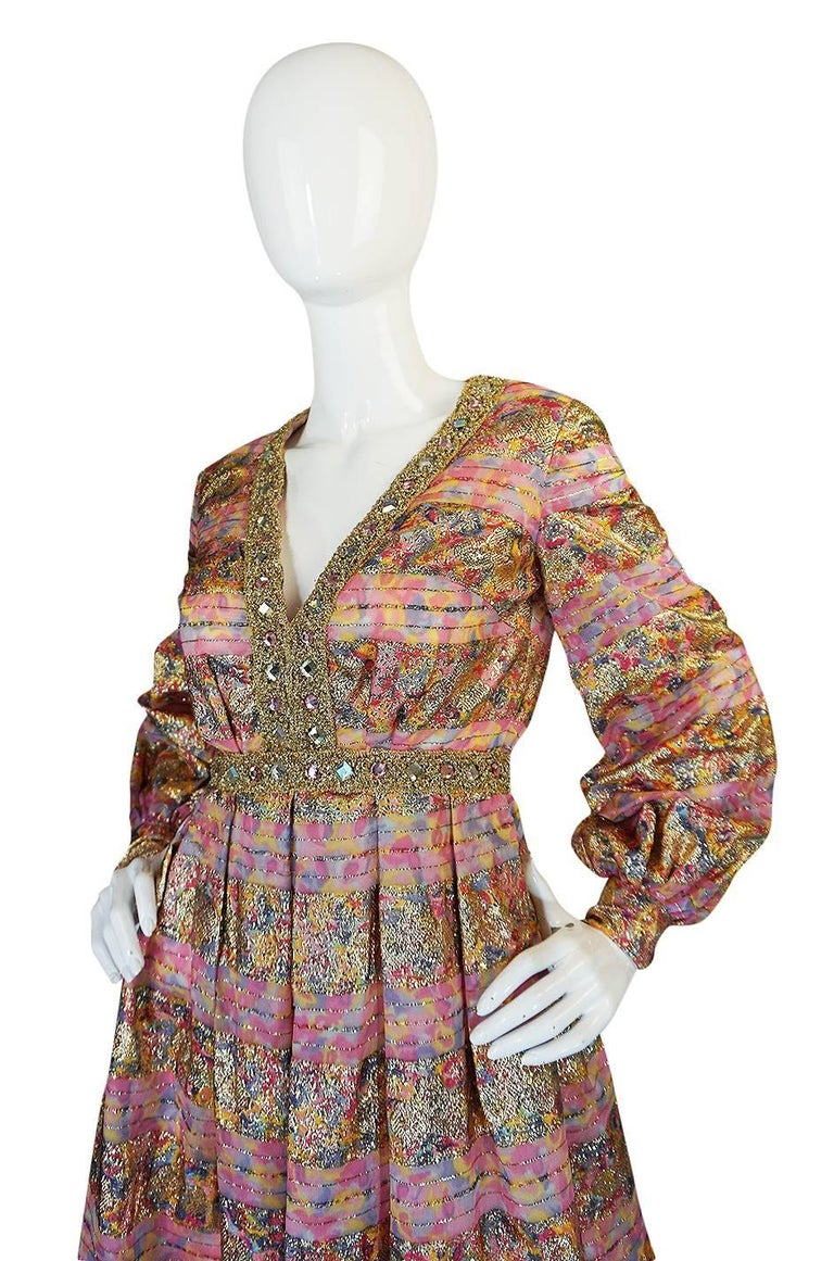 1960s Pink & Gold Embellished Metallic Silk Organza Dress In Excellent Condition For Sale In Toronto, CA