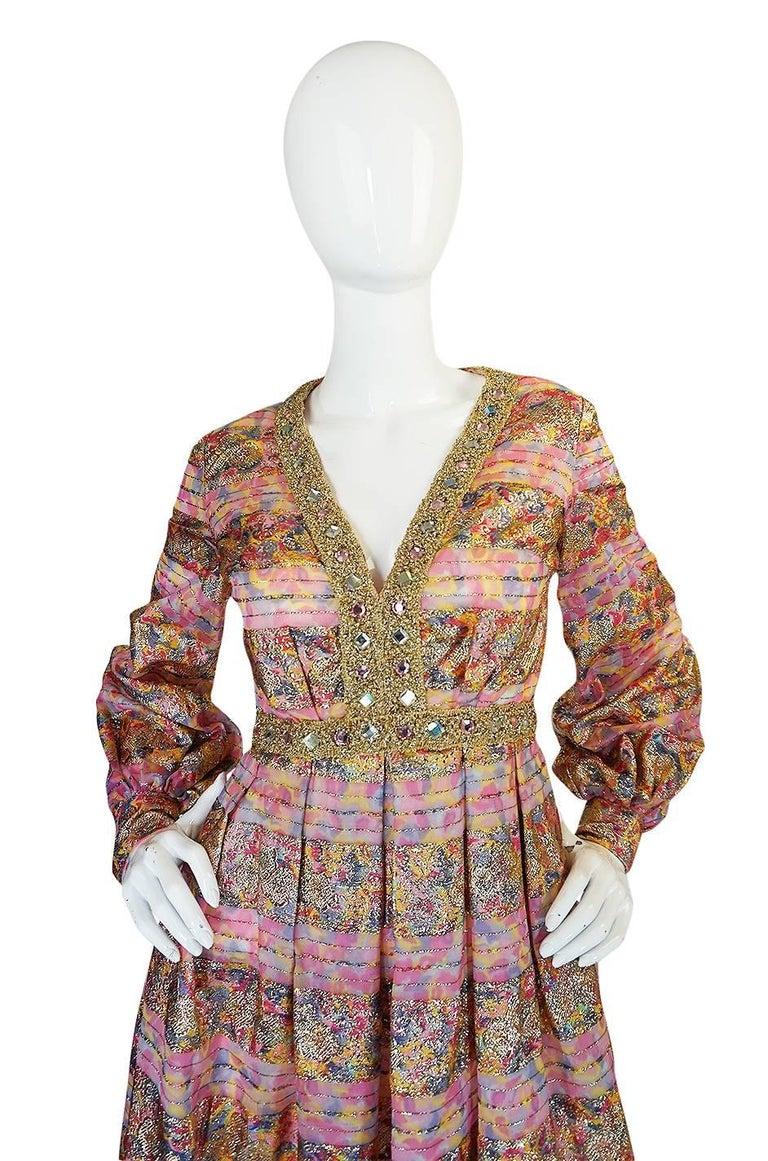 Women's 1960s Pink & Gold Embellished Metallic Silk Organza Dress For Sale