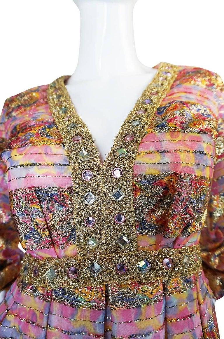 1960s Pink & Gold Embellished Metallic Silk Organza Dress For Sale 3