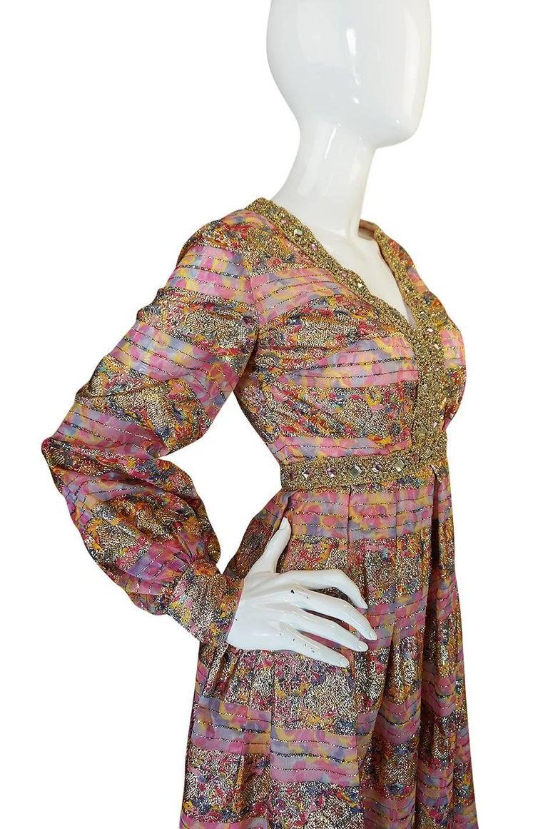1960s Pink & Gold Embellished Metallic Silk Organza Dress For Sale 1