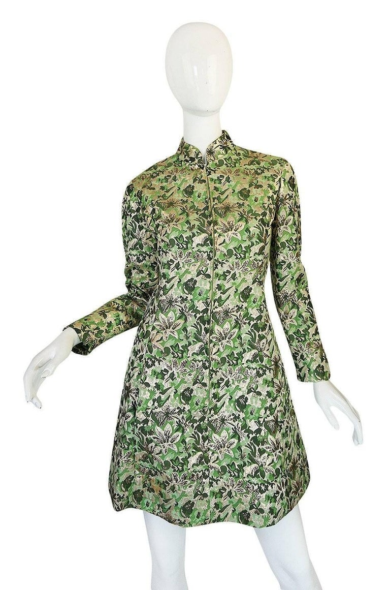 Beige 1960s Ceil Chapman Green Metallic Silk Brocade Mini Dress For Sale
