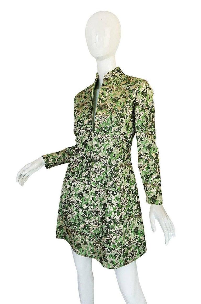 Women's 1960s Ceil Chapman Green Metallic Silk Brocade Mini Dress For Sale